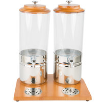 Choice 3.7 Gallon Wood and Polycarbonate Double Beverage Dispenser