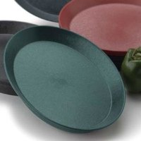 HS Inc. HS1058SB 13 inch Jalapeno Polypropylene Oval Deli Server with Short Base - 48/Case