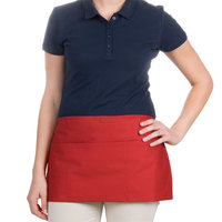 Choice 24 inch x 12 inch Red Front of the House Waist Apron