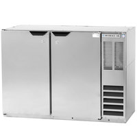 Beverage Air BB48Y-1-S-27 48 inch Stainless Steel Back Bar Refrigerator with 2 Solid Doors and Stainless Steel Top- 115V