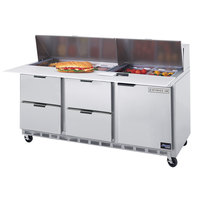 Beverage-Air SPED72-12C-4 72 inch Refrigerated Salad / Sandwich Prep Table with One Door and Four Drawers - Cutting Board Top
