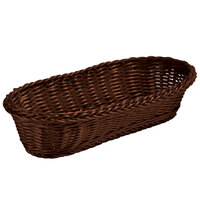 Tablecraft 1418 Brown Oblong Rattan Basket 15 inch x 6 inch x 3 inch 12 / Pack