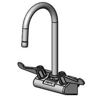 Equip by T&S 5F-4WWX05 Wall Mount Swivel Gooseneck Faucet with 4 inch Centers and Wrist Action Handles - 11 3/8 inch High with 5 1/2 inch Spread