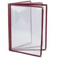 8 1/2 inch x 11 inch Four Pocket Menu Cover - Burgundy