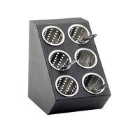 Cal Mil 2049 Black 6-Hole Classic Vertical Silverware Display - 11 1/2 inch x 15 3/4 inch x 15 3/4 inch