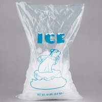 8 lb. Plastic Ice Bag with Blue ICE logo 1000 / Bundle