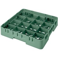 Cambro 16S900-119 Camrack 9 3/8 inch High Green 16 Compartment Glass Rack