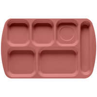GET TR-151 Mauve Melamine 10 inch x 15 1/2 inch Right Hand 6 Compartment Tray - 12 / Pack