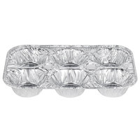 D&W Fine Pack E14 6 Cavity Foil Muffin Pan - 500/Case