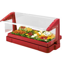 Cambro BBR720158 74 inch x 24 inch x 25 inch Red Buffet / Salad Bar with Free Standing Sneeze Guard