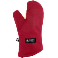 San Jamar KT0218 Cool Touch 17 inch Flame Red Conventional Oven Mitt with Kevlar®