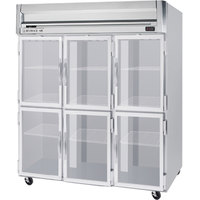 Beverage Air HRS3-1HG 3 Section Glass Half Door Reach-In Refrigerator - 74 cu. ft., SS Front and Interior