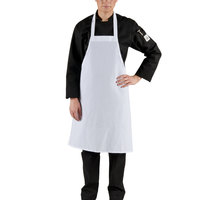 Choice White Economy Full Length Bib Apron - 34 inchL x 34 inchW