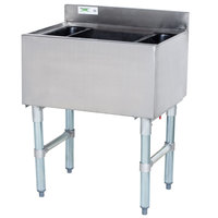 Regency 18 inch x 24 inch Underbar Ice Bin with 7 Circuit Post-Mix Cold Plate and Bottle Holders