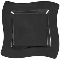Fineline Wavetrends 106-BK 6 1/2 inch Black Plastic Square Plate - 120 / Case