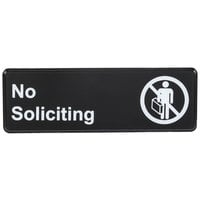 9 inch x 3 inch Black and White No Soliciting Sign
