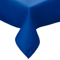 64 inch x 64 inch Royal Blue Hemmed Polyspun Cloth Table Cover