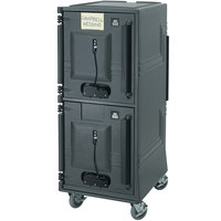 Cambro CMBPHSPHD615 Charcoal Gray Electric Combo Cart Plus with Security Package and Heavy Duty Casters - 110V