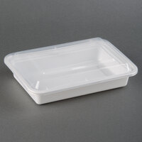 28 oz. White 8 inch x 6 inch x 1 1/2 inch Square End Microwavable Container with Lid - 150 / Case