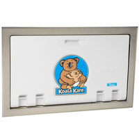 Koala Kare KB100-05ST Horizontal Recessed Mounted Baby Changing Station with Stainless Steel Flange - White Granite
