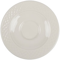 Homer Laughlin 7000-0328 Gothic 4 1/2 inch American White (Ivory / Eggshell) Udecorated China Saucer - 36/Case