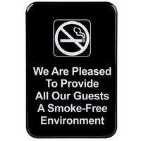 9 inch x 6 inch Black and White We Are Pleased To Provide All Our Guests A Smoke-Free Environment Sign