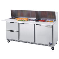 Beverage-Air SPED72-18C-2 72 inch Refrigerated Salad / Sandwich Prep Table with Two Doors and Two Drawers - Cutting Board Top