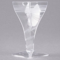 Fineline Tiny Temptations 6410-CL 2 oz. Tiny Barware Clear Plastic Square Wine Glass - 96/Case