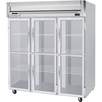 Beverage Air HRPS3-1HG 3 Section Glass Half Door Reach-In Refrigerator - 74 cu. ft., SS Exterior and Interior