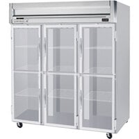 Beverage Air HRPS3-1HG-LED 3 Section Glass Half Door Reach-In Refrigerator - 74 cu. ft., SS Exterior and Interior
