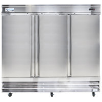 Avantco CFD-3RR 81 inch Three Section Solid Door Reach in Refrigerator - 72 cu. ft.
