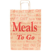 Natural Kraft Paper Shopping Bag with Handles - Meals to Go Printing 12 inch x 9 inch x 16 inch - 200 / Bundle
