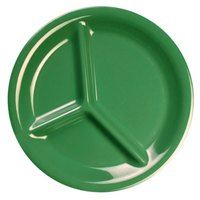10 1/4 inch Green 3-Compartment Melamine Plate - 12/Pack