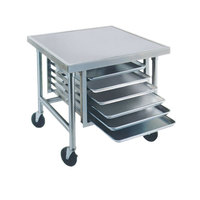 Advance Tabco MT-MG-303 30 inch x 36 inch Stainless Steel Mobile Mixer Table with Galvanized Base and Tray Slides