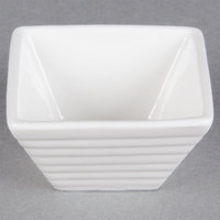 American Metalcraft SCR20 2 oz. White Square Ribbed Porcelain Sauce Cup