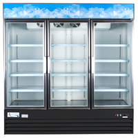 Avantco GDC69 79 inch Black Three Section Swing Glass Door Merchandising Refrigerator with LED Lighting- 69 cu. ft.