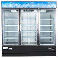 "Avantco GDC-69 79"" Black Three Section Swing Glass Door Merchandising Refrigerator with LED Lighting- 69 cu. ft."