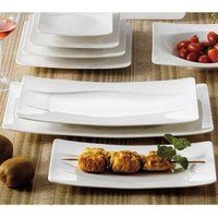 CAC MDN-14 Modern 13 1/2 inch x 7 inch New Bone White Rectangular Porcelain Platter - 12 / Case
