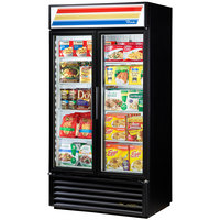 True GDM-35F-LD Black Glass Swing Door Merchandiser Freezer with LED Lighting - 35 Cu. Ft.