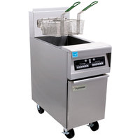 Frymaster PH155-2C Liquid Propane High Efficiency Split Pot Fryer 50 lb. with Programmable Computer Controls - 80,000 BTU