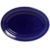 Tuxton Concentrix CCH-096 Cobalt 9 3/4 inch x 6 1/2 inch Oval China Platter 24/Case