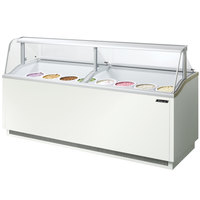 Turbo Air TIDC-91W White 91 inch Low Curved Glass Ice Cream Dipping Cabinet