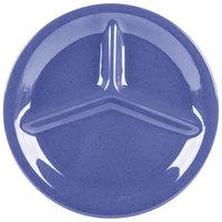 GET CP-10-PB Diamond Mardi Gras 10 1/4 inch Peacock Blue Three Compartment Melamine Plate - 12 / Case