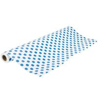 40 inch x 100' Paper Table Cover with Blue Polka Dots