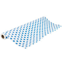 40 inch x 100' Table Cover with Blue Polka Dots