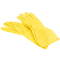 Small Multi-Use Yellow Rubber Flock Lined Gloves - 12 Pairs / Pack