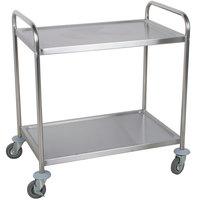 "Choice 33 3/4"" x 21"" x 37"" Knocked Down 18 Gauge Stainless Steel 2 Shelf Utility Cart"