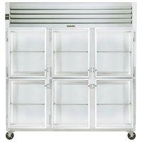 Traulsen G32001 3 Section Glass Half Door Reach In Refrigerator - Left / Left / Right Hinged Doors