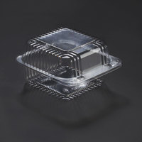 Dart Solo C20UTD StayLock 5 1/4 inch x 5 5/8 inch x 3 1/4 inch Clear Hinged Plastic 5 inch Square Deep Base Container - 500/Case