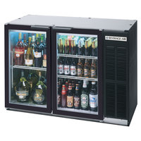 Beverage Air BB48GY-1-BK-LED-WINE 48 inch Black Back Bar Wine Series Refrigerator - Narrow Depth, 2 Glass Doors